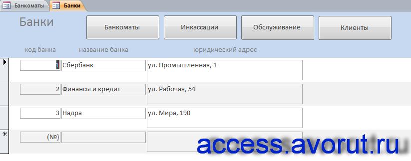 """Форма «Банки» готовой бд аксесс """"Банкоматы""""."""