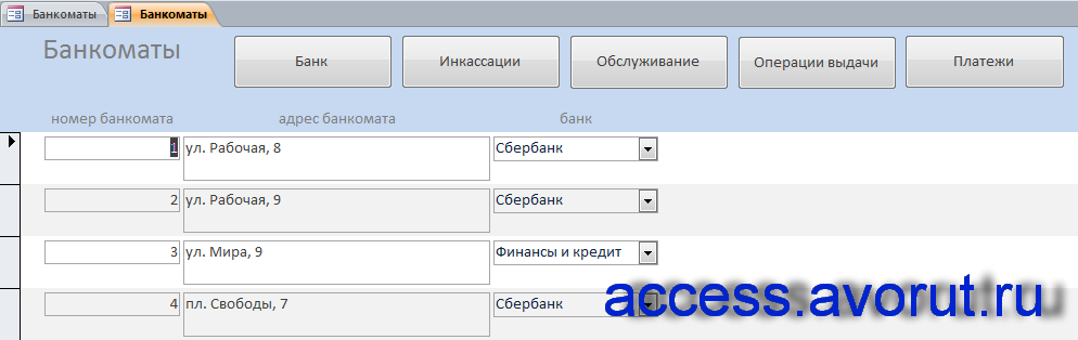 """Форма «Банкоматы» примера готовой бд аксесс """"Банкоматы""""."""