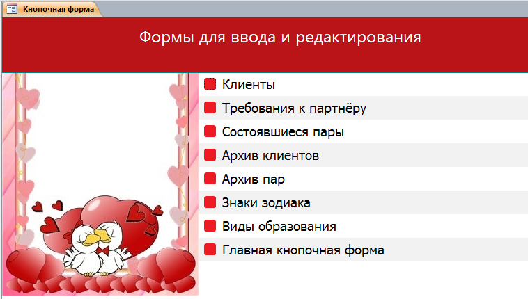 Вкладка «Формы для ввода и редактирования». Пример базы данных access.
