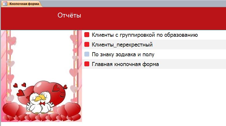 Вкладка «Отчёты». Пример базы данных access.