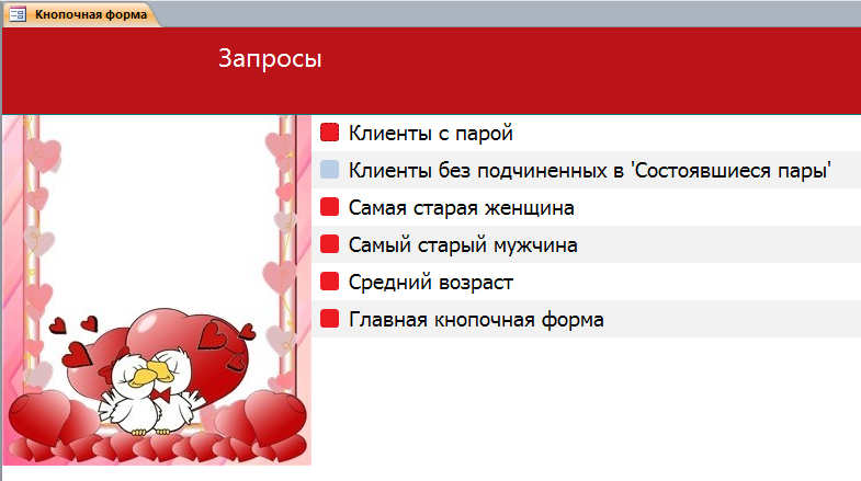 Бюро знакомств база данных access.
