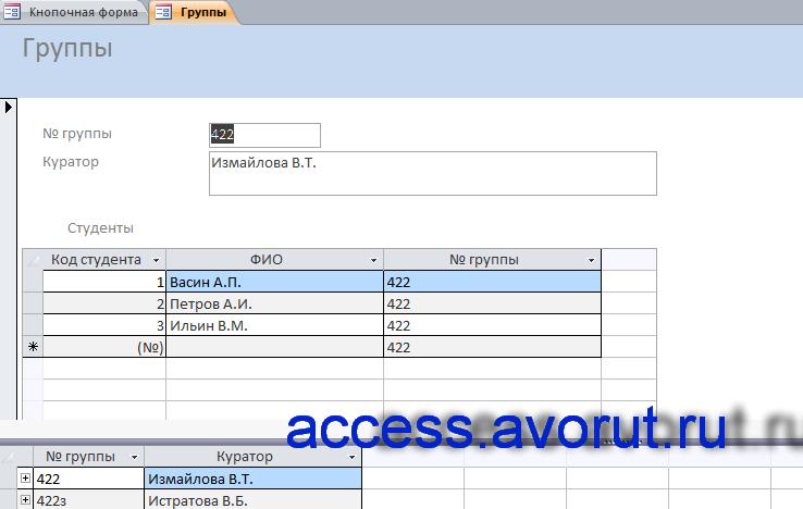 Форма «Группы» примера готовой базы данных «Дипломное проектирование».