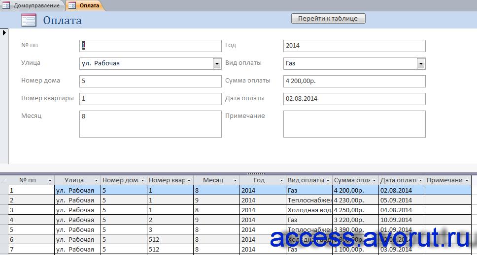 Форма «Оплата» готовой базы данных Домоуправление. Скачать курсовую.