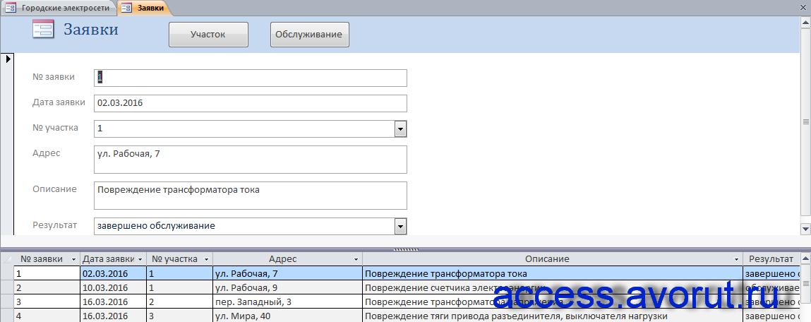 Cкачать базу данных access Городские электросети: Форма «Заявки».