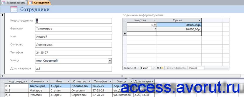 Форма «Сотрудники» в готовой базе данных Фирма.