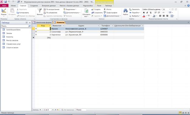 Пример базы данных access. Таблица «Клиенты»