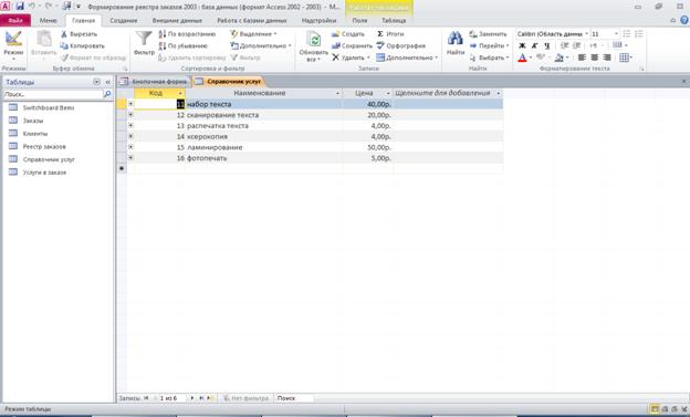 Пример базы данных access. Таблица «Справочник услуг»