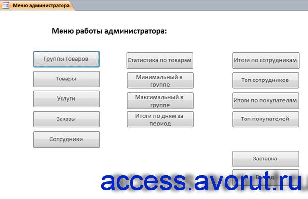 Форма «Меню работы администратора». База данных Фотосалон в аксесс.