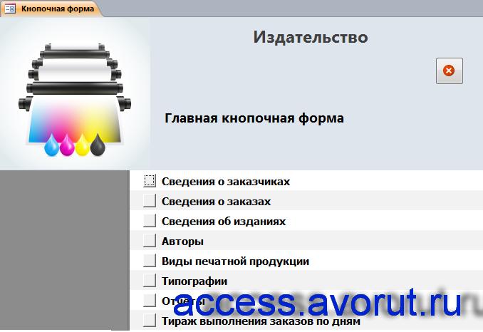 Главная кнопочная форма готовой базы данных «Издательство».