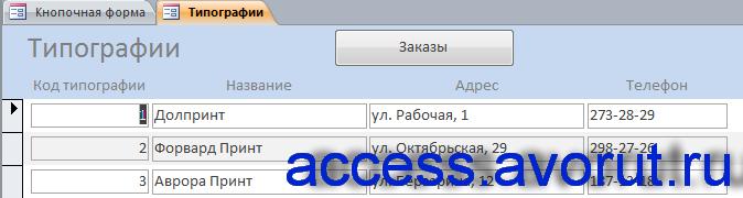 Форма «Типографии» готовой базы данных «Издательство» в access.