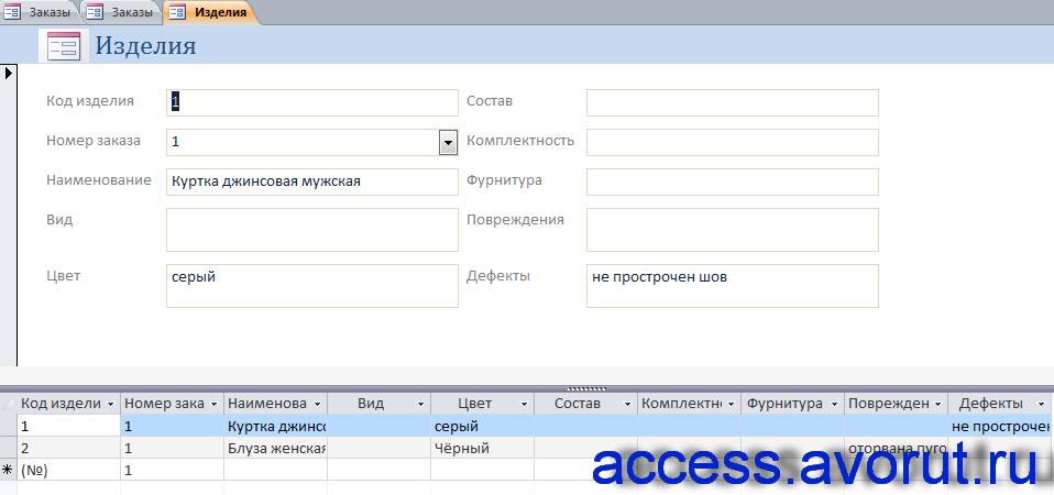 Скачать базу данных access Химчистка. Форма «Изделия»