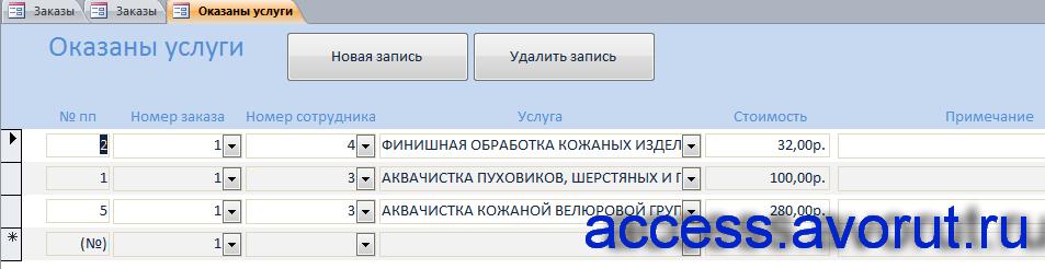 Скачать базу данных access Химчистка. Форма «Оказаны услуги»