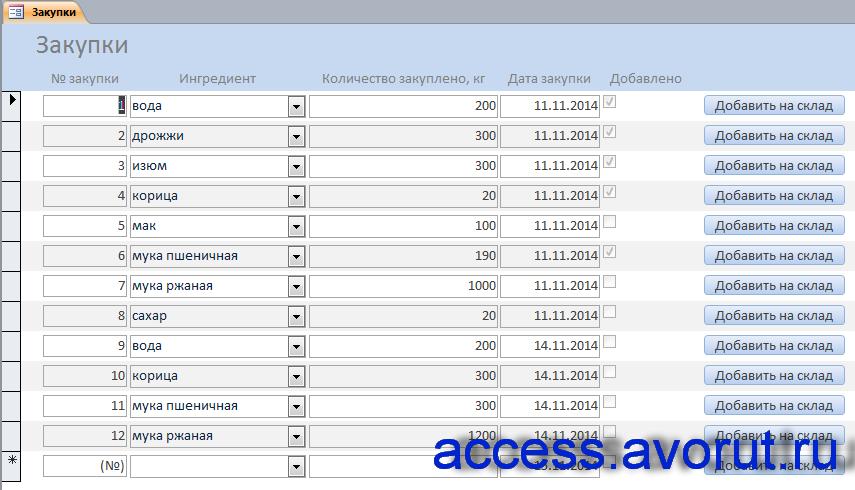 Скачать базу данных access Хлебокомбинат Базы данных access  Скачать базу данных access Хлебокомбинат Форма Закупки
