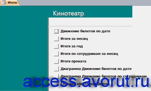 Страница «Итоги» главной кнопочной формы базы данных «Кинотеатр». Download.