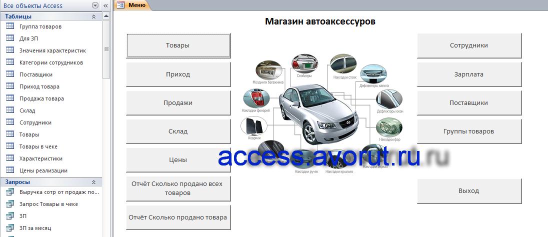 база данных Access Магазин автоаксессуаров (автозапчастей)