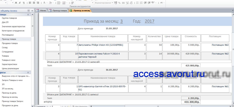 Пример базы данных Access Магазин автозапчастей