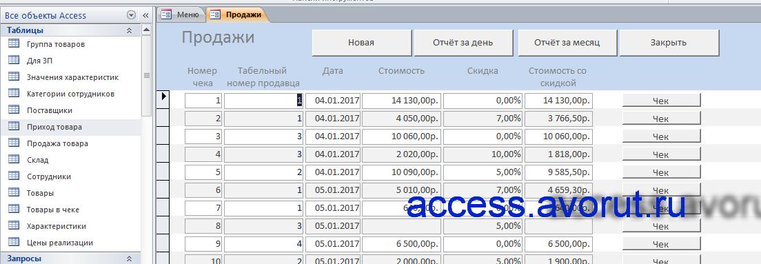 Готовая база данных Access Магазин: автоаксессуары, автозапчасти, автотовары, мебель, компьютеры, техника