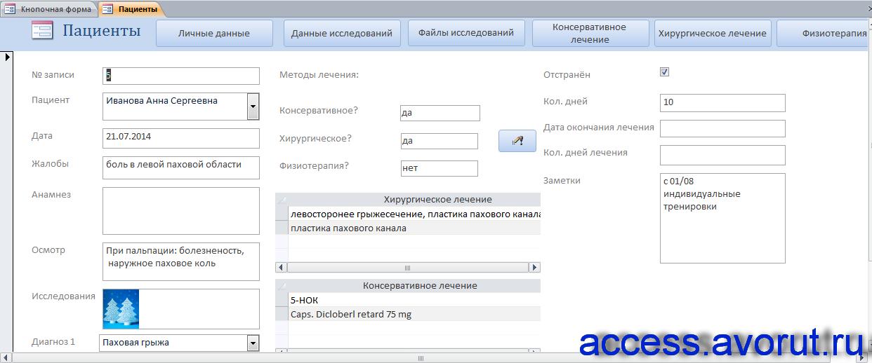 Форма «Пациенты» базы данных медицинского кабинета.