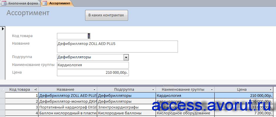 """Готовая база данных """"БД фирмы-поставщика медицинской техники"""". Форма «Ассортимент»."""