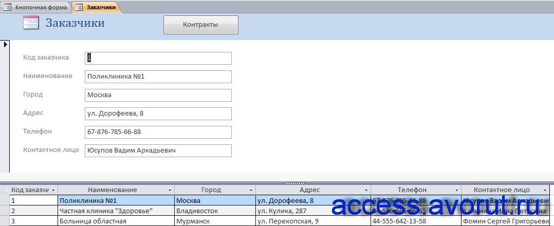 """Пример базы данных """"БД фирмы-поставщика медицинской техники"""". Форма «Заказчики»."""
