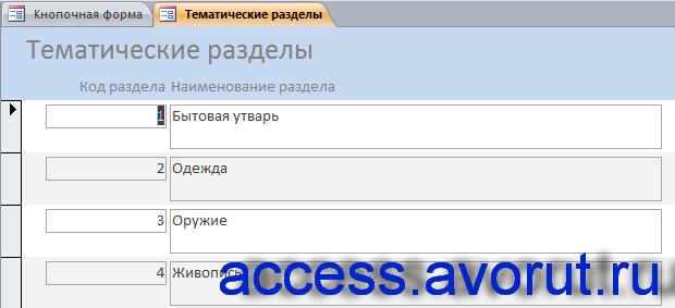 Форма «Тематические разделы». Скачать базу данных access «Музей».