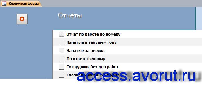 """Скачать базу данных access """"Распределение дополнительных обязанностей"""". Страница «Отчёты»."""