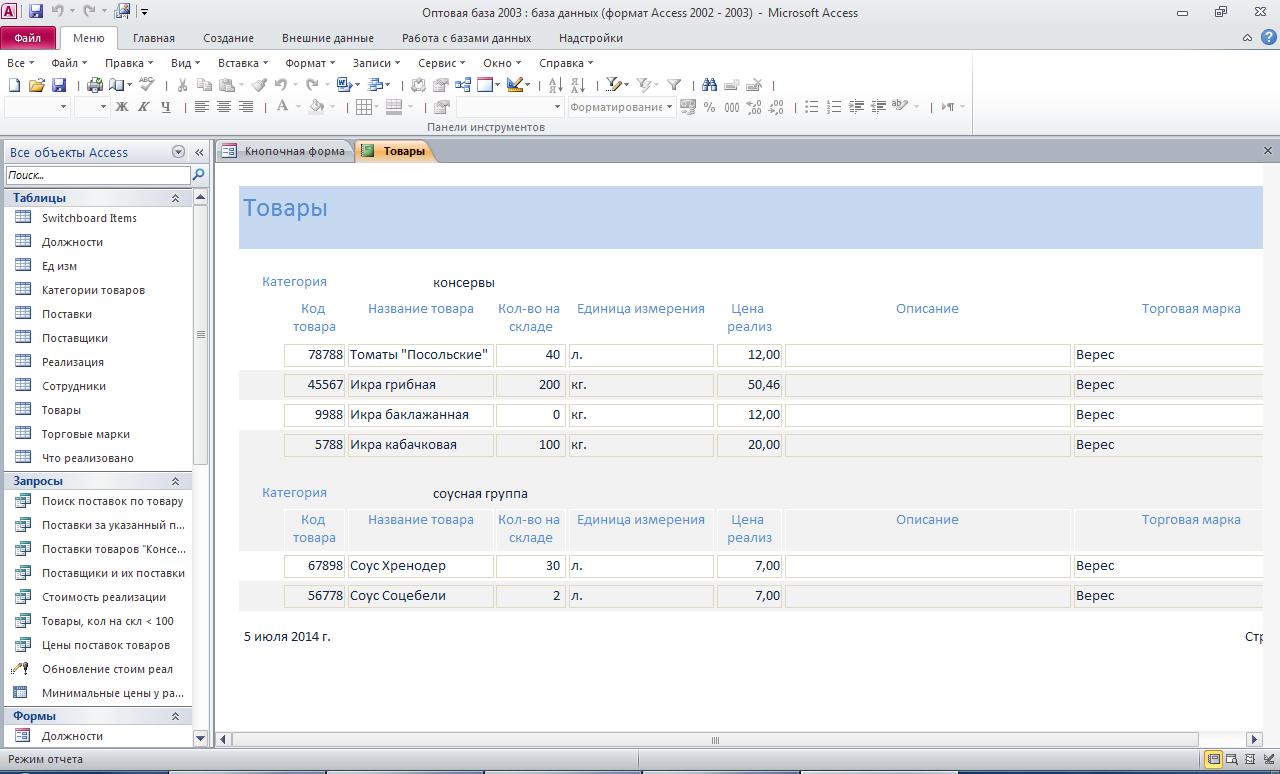 Отчёт «Товары». Пример базы данных access.