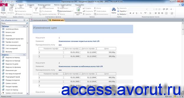Скачать базу access Парикмахерская. Отчёт «Изменение цен»