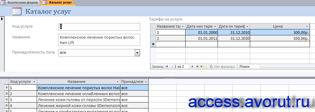 Скачать базу данных access Парикмахерская. Форма «Каталог услуг».