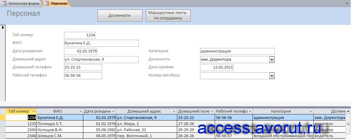 Готовая база данных access «Пассажирское автопредприятие». Форма «Персонал».