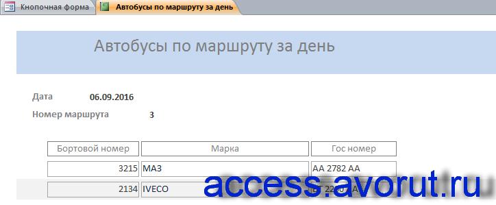 База данных «Пассажирское автопредприятие». Отчёт «Автобусы по маршруту за день».
