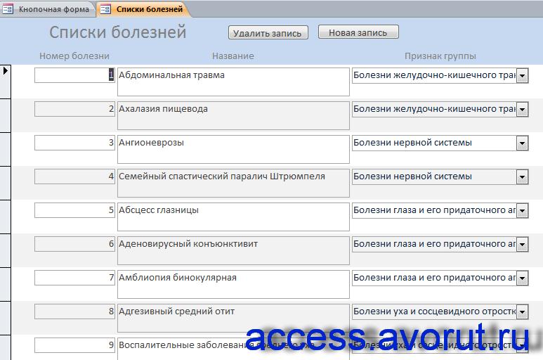 Готовая база данных access Поликлиника. Форма «Списки болезней»