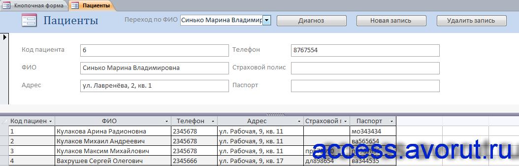 """Форма «Пациенты» готовой базы данных """"Поликлиника""""."""