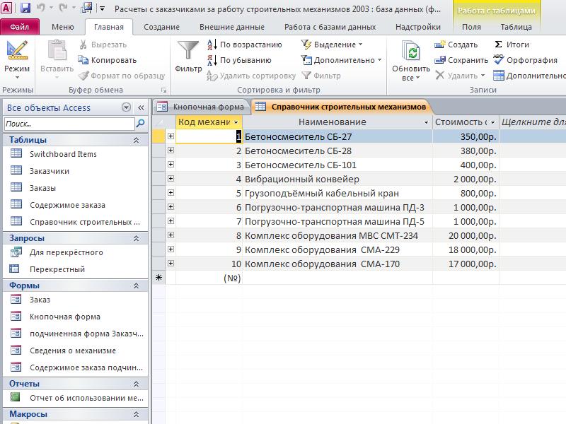 Таблица «Справочник строительных механизмов». Расчеты с заказчиками за работу строительных механизмов база данных access.