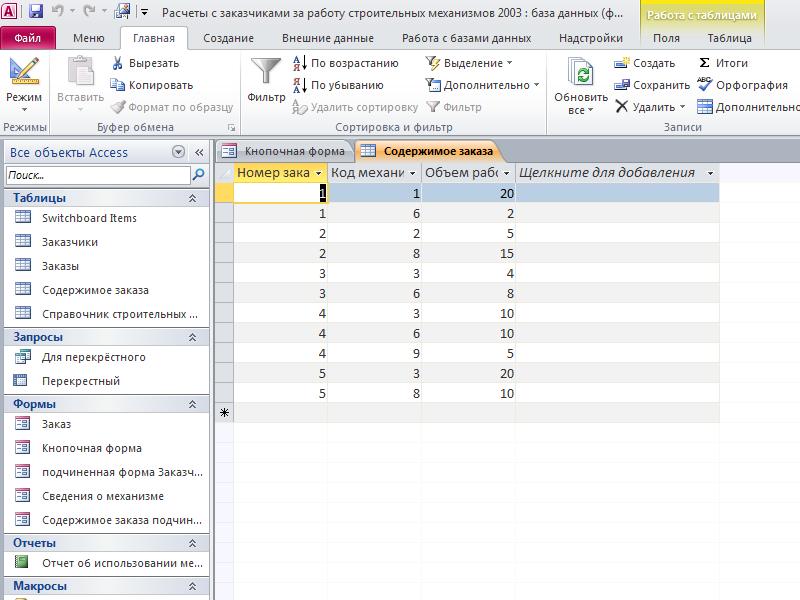 Таблица «Содержимое заказа». Пример базы данных access Расчеты с заказчиками за работу строительных механизмов.