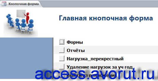Главная кнопочная форма готовой базы данных аксесс «Распределение учебной нагрузки».