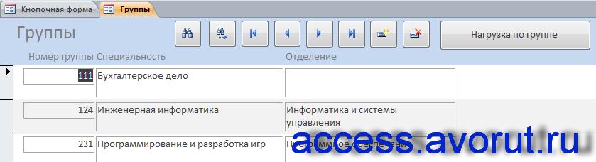 """Форма """"Нагрузка"""" курсовой базы данных «Распределение учебной нагрузки»."""