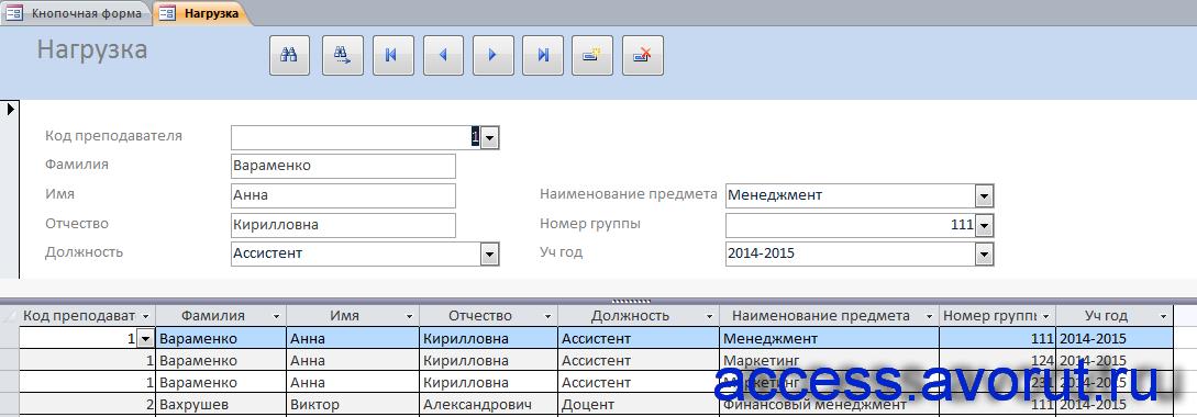 """Форма """"Нагрузка"""" примера готовой базы данных «Распределение учебной нагрузки»."""