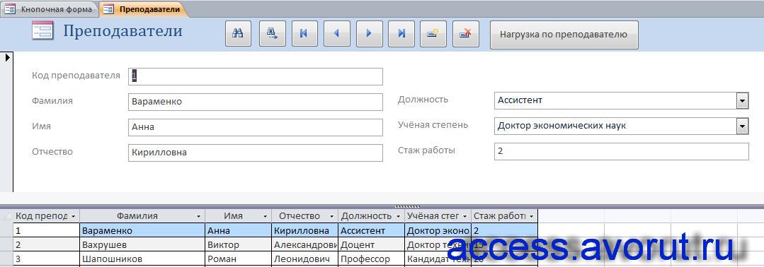 """Форма """"Преподаватели"""" готовой базы данных «Распределение учебной нагрузки» - скачать в access."""