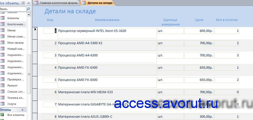 """аис """"учет компьютеров и комплектующих на предприятии"""";база данных учет компьютерной техники на access"""