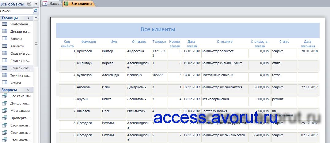 учет компьютеров в access;база данных ремонт компьютерной техники