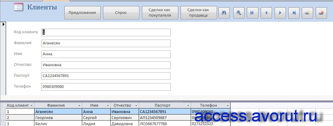 Форма «Клиенты» базы данных «Риэлторская контора».
