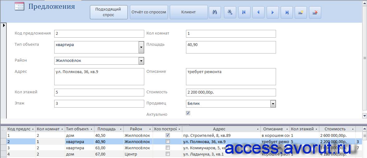 Скачать пример бд «Риэлторская контора» - база данныхaccessнедвижимость.