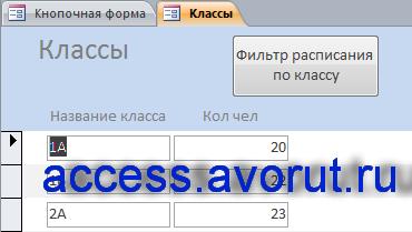 Форма «Классы» готовой базы данных access «Расписание занятий в школе».
