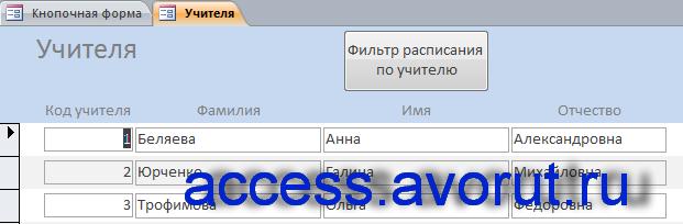 Форма «Учителя». Пример готовой базы данных «Расписание занятий в школе».
