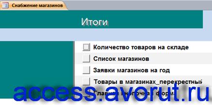 Страница «Итоги» на главной кнопочной форме базы данных Снабжение магазинов.