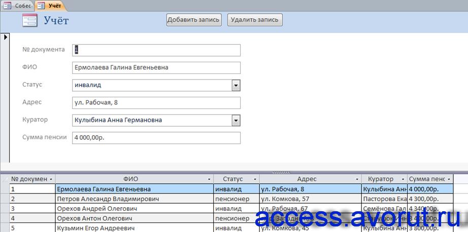 Форма «Учёт». Курсовая база данных Собес в аксесс.