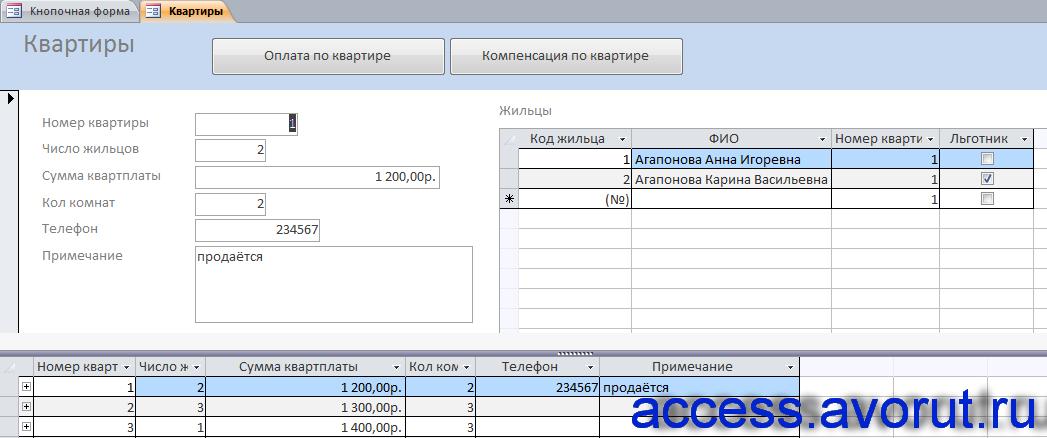 """Форма """"Квартиры"""" готовой базы данных access «Бизнес-процессы правления общества собственников жилья»."""