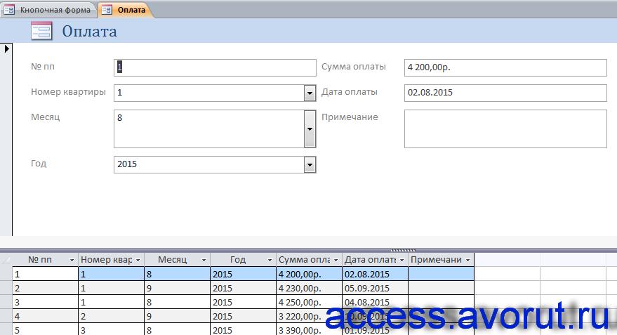 Готовая база данных access «Бизнес-процессы правления общества собственников жилья» - форма Оплата.