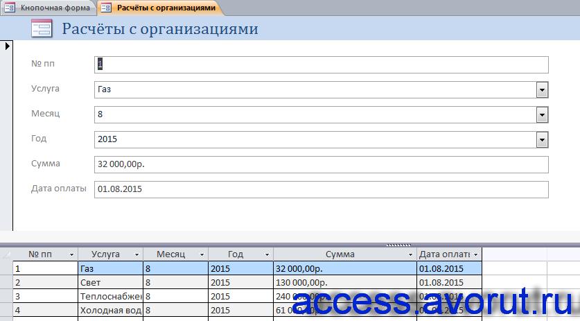 Расчёты с организациями в базе данных «Бизнес-процессы правления общества собственников жилья».